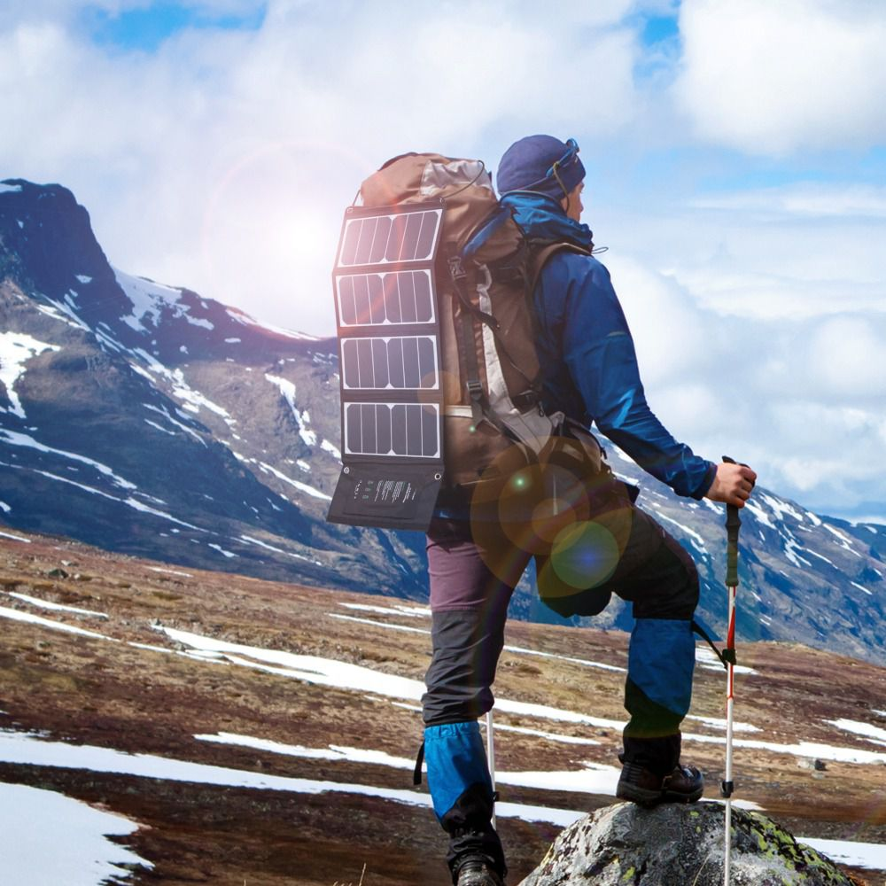 portable solar charger on a backpack
